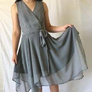 bar III gingham wrap dress